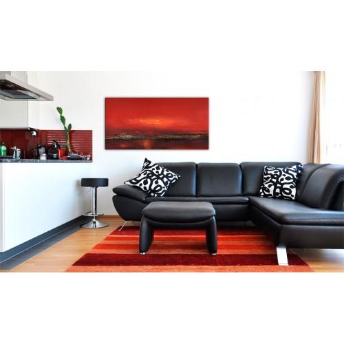 Quadro dipinto - Tramonto rosso sul mare - Quadri e decorazioni