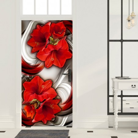Fotomurale per porta - Photo wallpaper - Abstraction and red flowers I - Quadri e decorazioni