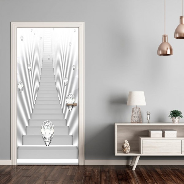 Fotomurale per porta - Photo wallpaper - White stairs and jewels I - Quadri e decorazioni