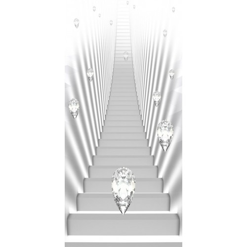 Fotomurale per porta - Photo wallpaper - White stairs and jewels I - Quadri e decorazioni