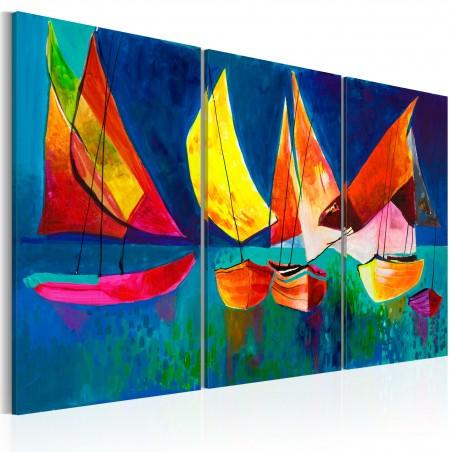 Quadro dipinto - Barche a vela colorate - Quadri e decorazioni