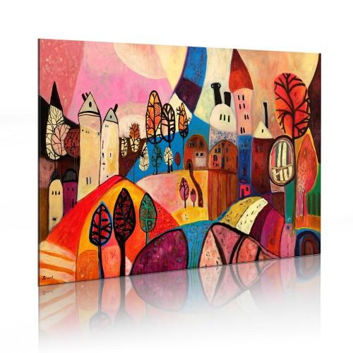 Quadro dipinto - Villaggio nei colori d'autunno - Quadri e decorazioni