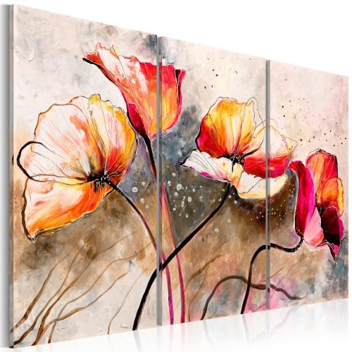 Quadro dipinto - Papaveri frustati dal vento - Quadri e decorazioni