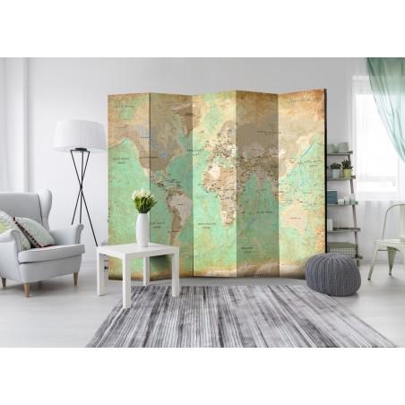 Paravento - Turquoise World Map [Room Dividers] - Quadri e decorazioni