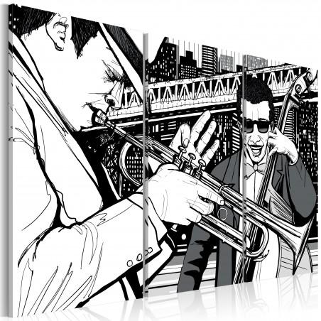 Quadro - Concerto jazz sullo sfondo di grattacieli di New York - Quadri e decorazioni