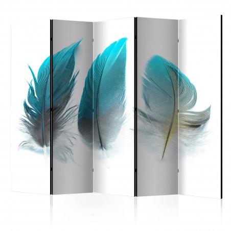 Paravento - Blue Feathers II [Room Dividers] - Quadri e decorazioni