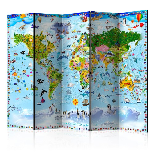 Paravento - World Map for Kids II [Room Dividers] - Quadri e decorazioni