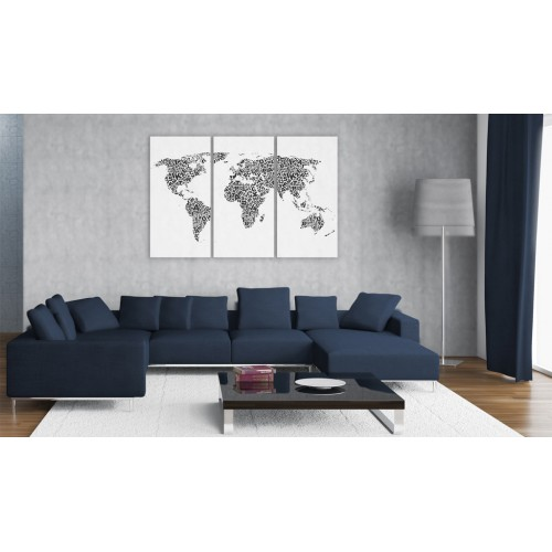 Quadro - Mappa del mondo: alfabeto (trittico) - Quadri e decorazioni