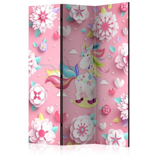 Paravento - Unicorn on Flowerbed [Room Dividers] - Quadri e decorazioni