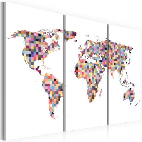 Quadro - Mappa del mondo: pixel (trittico) - Quadri e decorazioni