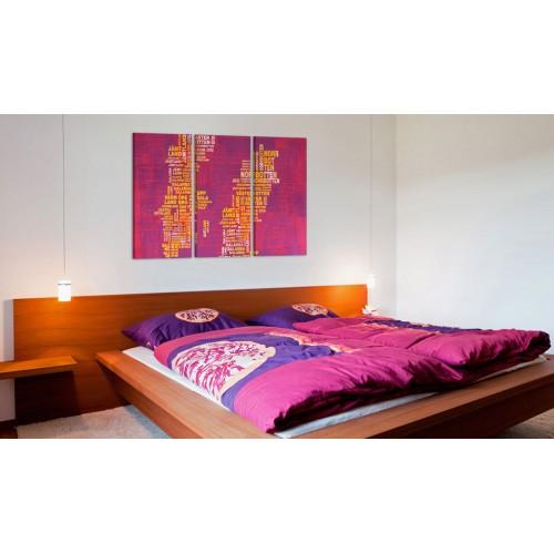 Quadro - Cartina di Svezia (sfondo rosa): trittico - Quadri e decorazioni