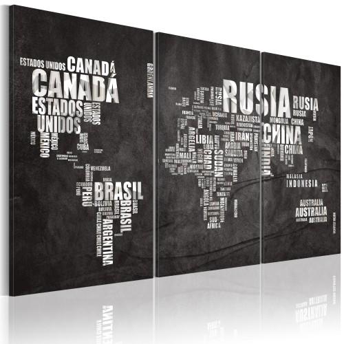 Quadro - Mappa del mondo (lingua spagnola): trittico - Quadri e decorazioni