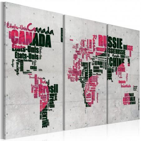 Quadro - Mappa del mondo (lingua francese): trittico - Quadri e decorazioni