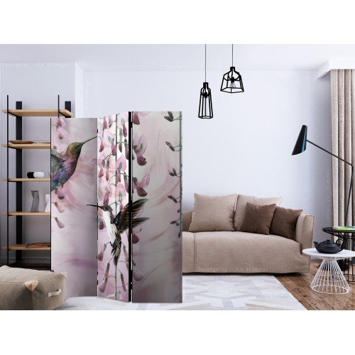 Paravento - Flying Hummingbirds (Pink) [Room Dividers] - Quadri e decorazioni