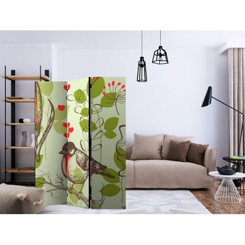 Paravento - Bird and lilies vintage pattern [Room Dividers] - Quadri e decorazioni