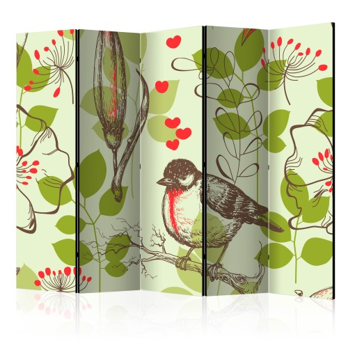 Paravento - Bird and lilies vintage pattern II [Room Dividers] - Quadri e decorazioni