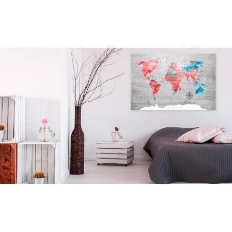 Quadro - World Map: Red Roam - Quadri e decorazioni