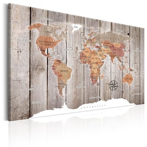 Quadro - World Map: Wooden Stories - Quadri e decorazioni