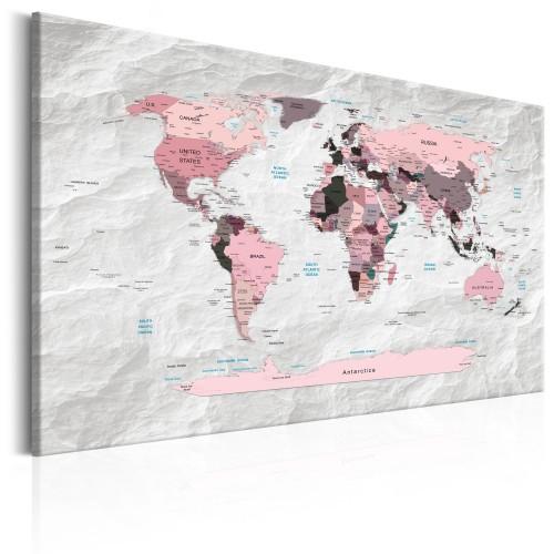 Quadro - World Map: Pink Continents - Quadri e decorazioni