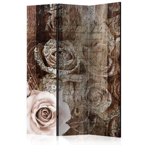 Paravento - Old Wood & Roses [Room Dividers] - Quadri e decorazioni