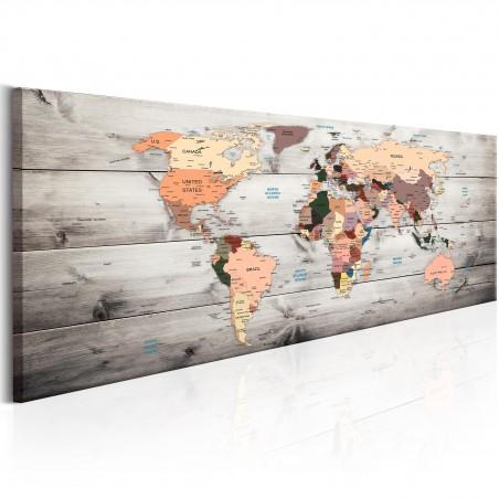 Quadro - World Maps: Wooden Travels - Quadri e decorazioni