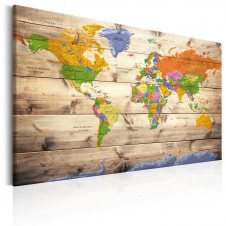 Quadro - Map on wood: Colourful Travels - Quadri e decorazioni