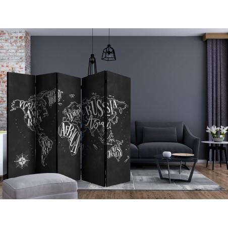 Paravento - Retro Continents (Black) II [Room Dividers] - Quadri e decorazioni