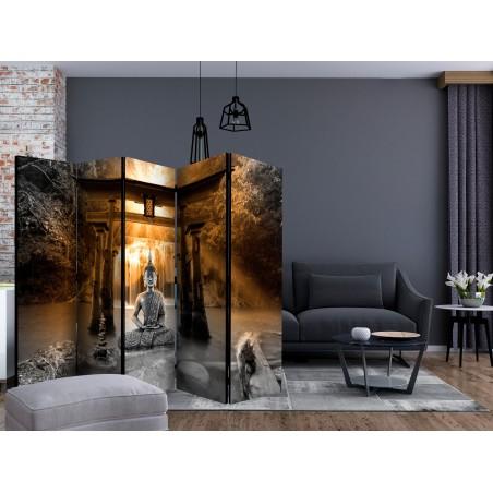 Paravento - Buddha Smile (Orange) II [Room Dividers] - Quadri e decorazioni