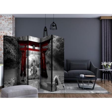 Paravento - Buddha Smile (Red) II [Room Dividers] - Quadri e decorazioni