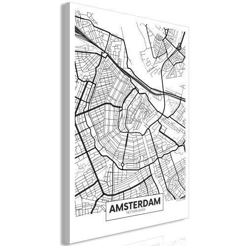 Quadro - Map of Amsterdam (1 Part) Vertical - Quadri e decorazioni