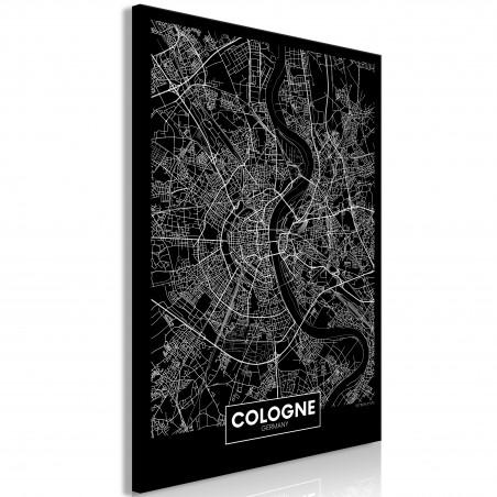 Quadro - Dark Map of Cologne (1 Part) Vertical - Quadri e decorazioni