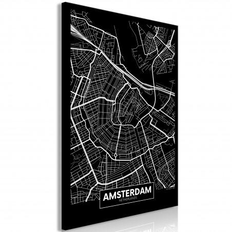 Quadro - Dark Map of Amsterdam (1 Part) Vertical - Quadri e decorazioni