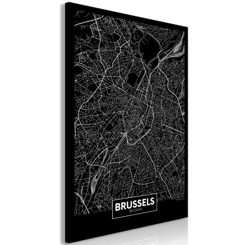 Quadro - Dark Map of Brussels (1 Part) Vertical - Quadri e decorazioni