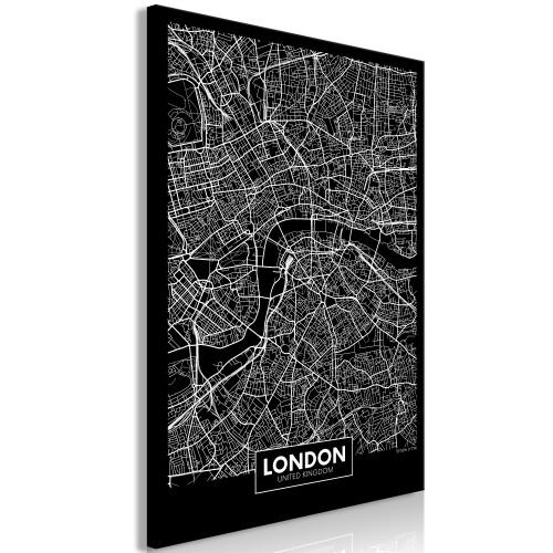Quadro - Dark Map of London (1 Part) Vertical - Quadri e decorazioni