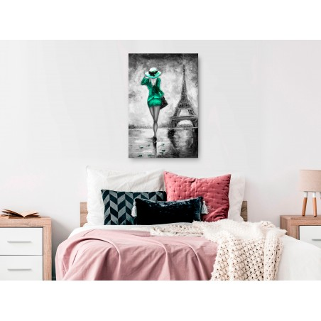 Quadro - Parisian Woman (1 Part) Vertical Green - Quadri e decorazioni
