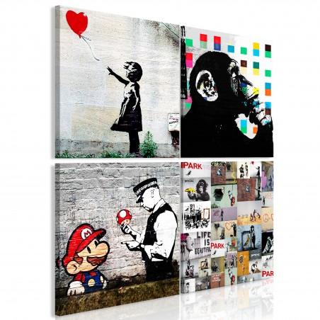 Quadro - Banksy Collage (4 Parts) - Quadri e decorazioni