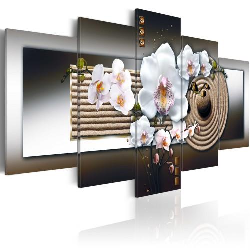 Quadro - Orchidea e giardino zen - marrone - Quadri e decorazioni