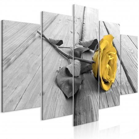 Quadro - Rose on Wood (5 Parts) Wide Yellow - Quadri e decorazioni