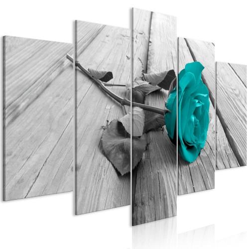 Quadro - Rose on Wood (5 Parts) Wide Turquoise - Quadri e decorazioni