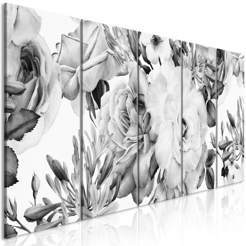 Quadro - Rose Composition (5 Parts) Narrow Black and White - Quadri e decorazioni