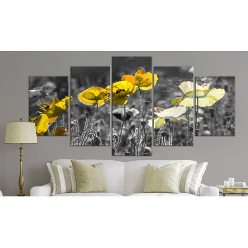 Quadro - Yellow Poppies (5 Parts) Wide - Quadri e decorazioni
