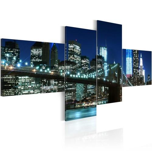Quadro - Ponte di Brooklyn illuminato di notte - Quadri e decorazioni