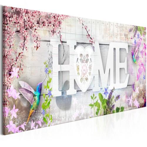 Quadro - Home and Hummingbirds (1 Part) Pink Narrow - Quadri e decorazioni