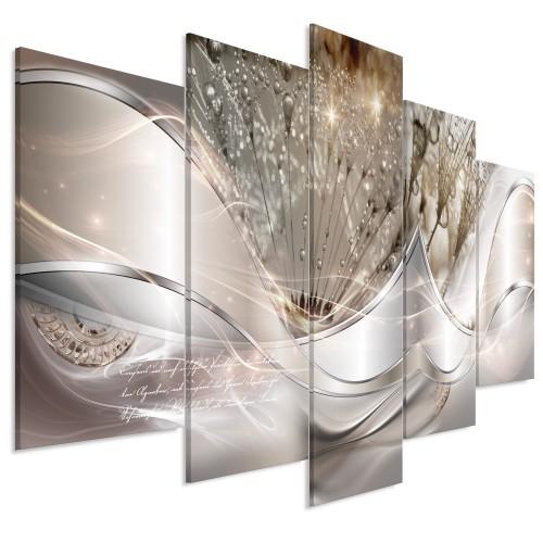 Quadro - Modern Dandelions (5 Parts) Beige Wide - Quadri e decorazioni