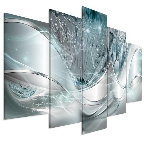 Quadro - Modern Dandelions (5 Parts) Blue Wide - Quadri e decorazioni