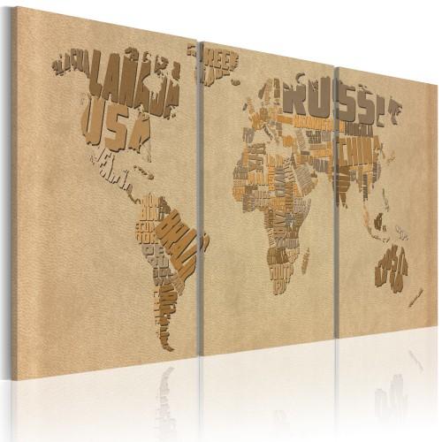 Quadro - Mappa del mondo in beige e marrone - Quadri e decorazioni