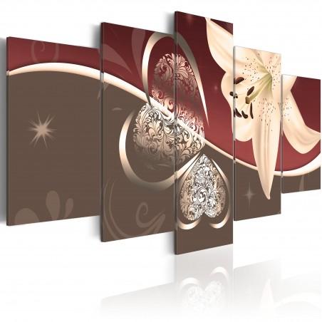 Quadro - Astrazione con giglio - 5 pannelli - Quadri e decorazioni