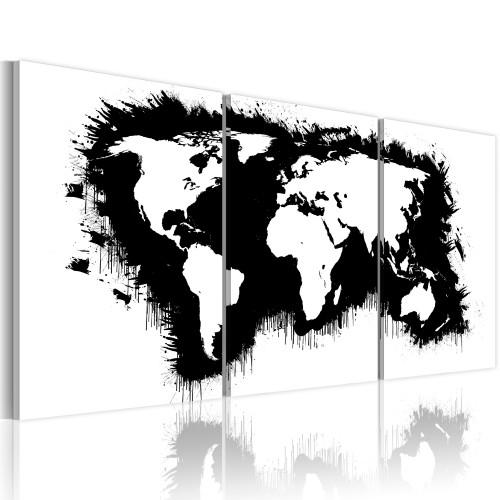 Quadro - Mappa del mondo in bianco e nero - Quadri e decorazioni