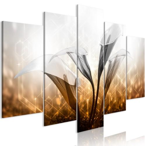 Quadro - Floral Quartet (5 Parts) Wide Golden - Quadri e decorazioni