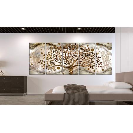 Quadro - Tree and Waves (5 Parts) Brown - Quadri e decorazioni
